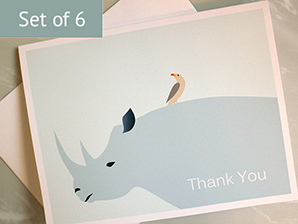 Rhino Oxpecker Thank You Cards