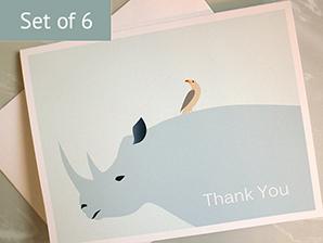 Rhino Oxpecker Thank You Cards